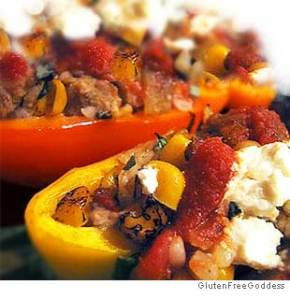 Free range Turkey Stuffed Peppers ~ Yum !